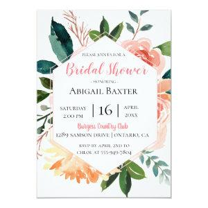 Pink Watercolor Floral Bridal Shower Invitation starting at 2.50