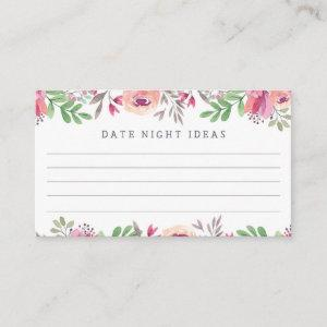 Pink Watercolor Floral Date Night Ideas Enclosure Card starting at 0.59