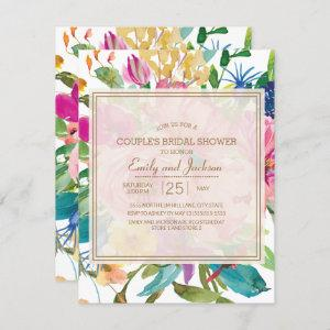 Pink Yellow Floral  Script Couple's Bridal Shower Invitation starting at 2.20