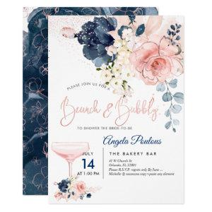 PixDezines Brunch Bubbly Navy Blush H2 flowers Invitation starting at 2.15