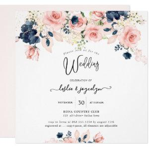 PixDezines Watercolor Dusty Rose Navy Blue Wedding Invitation starting at 2.40