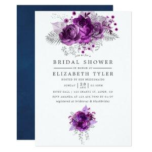 Plum and Navy Watercolor Floral Bridal Shower Invitation starting at 2.66