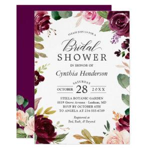 Plum Burgundy Blush Floral Classy Bridal Shower Invitation starting at 2.40