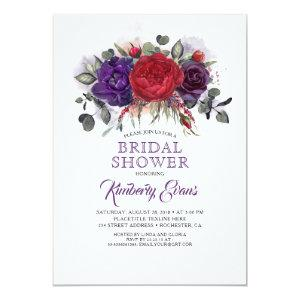 Plum Purple and Burgundy Floral Fall Bridal Shower Invitation starting at 2.51