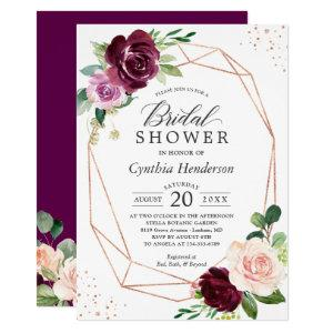 Plum Purple Blush Floral Rose Gold Bridal Shower Invitation starting at 2.40