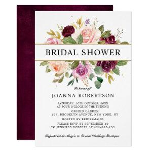 Plum Purple Blush Pink Botanical Bridal Shower Invitation starting at 2.40
