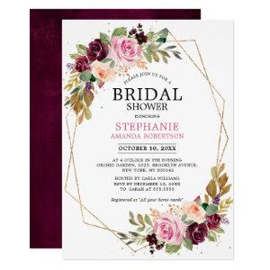 Plum Purple Blush Pink Floral Bridal Shower Invitation starting at 2.40
