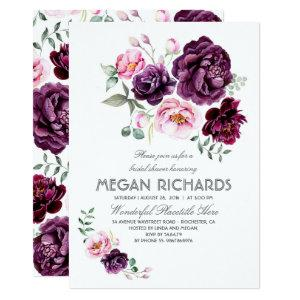 Plum Purple Floral Watercolor Boho Bridal Shower Invitation starting at 2.40