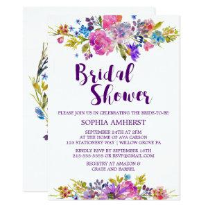 Plum Purple Garden Bridal Shower Invitation Card starting at 2.51