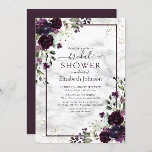 Plum Purple Gold Watercolor Marble Bridal Shower starting at 2.40