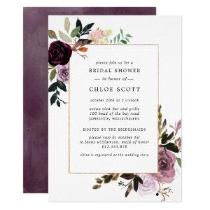 Plum Purple Mauve Pink Floral Bridal Shower Invitation starting at 2.15