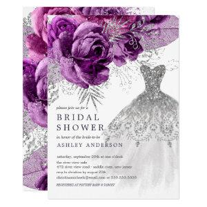 Plum & Silver Floral Wedding Dress Bridal Shower Invitation starting at 2.40