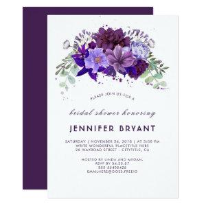 Plum Violet Purple Floral Elegant Bridal Shower Invitation starting at 2.40