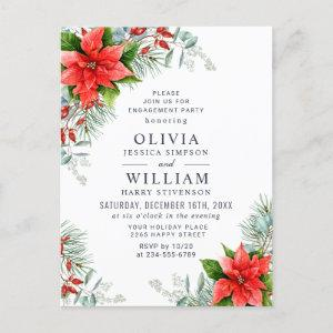 Poinsettia Eucalyptus ENGAGEMENT PARTY Invitations starting at 1.25