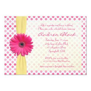 Polka Dot Pink Gerber Bridal Shower Invitation starting at 2.66