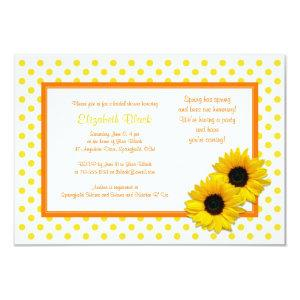 Polka Dot Sunflower Wedding Bridal Shower Invite starting at 2.21