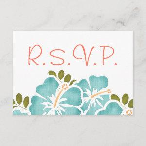 POOL AND CORAL HIBISCUS RSVP WEDDING RESPONSE CARD starting at 2.11