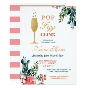 Pop Fizz Clink Bridal Shower Champagne Gold Invite starting at 2.51