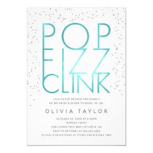 Pop Fizz Clink Bridal Shower Invitation, Aqua Invitation starting at 2.45