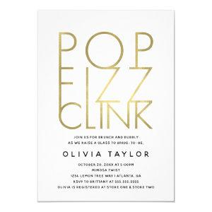 Pop Fizz Clink Bridal Shower Invitation, Faux Gold Invitation starting at 2.45