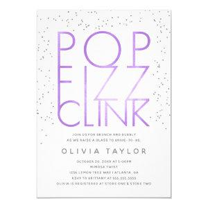 Pop Fizz Clink Bridal Shower Invitation, Purple Invitation starting at 2.45