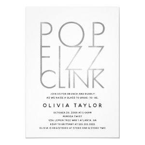 Pop Fizz Clink Bridal Shower Invitation, Silver Invitation starting at 2.45