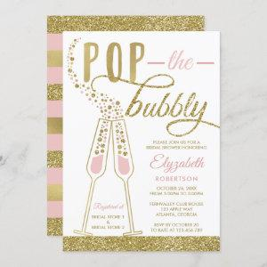 Pop The Bubbly Bridal Shower Invite, Faux Gold Invitation starting at 2.45