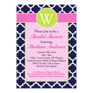 Preppy Quatrefoil Monogram Shower Invitation starting at 2.66