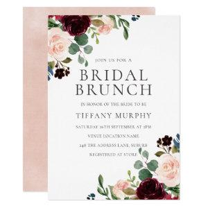Pretty Blush Burgundy Floral Bridal Shower Brunch Invitation starting at 2.40