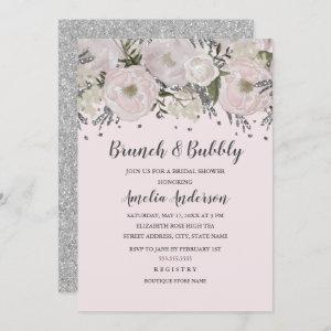 Pretty Blush Pink Silver Floral Brunch And Bubbly starting at 2.55