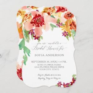 Pretty Bridal Shower Fall Floral Modern Watercolor Invitation starting at 2.91