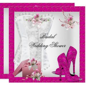 Pretty Bridal Shower White Pink Corset High Heels Invitation starting at 2.40