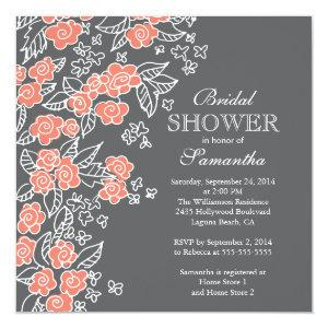Pretty Flowers Modern Gray & Coral Bridal Shower Invitation starting at 2.41