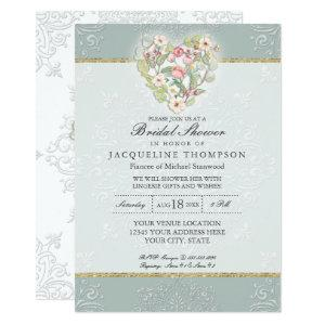 Pretty Lace Dusty Silver Sage Floral Bridal Shower Invitation starting at 2.66