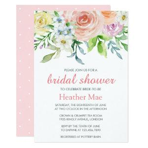Pretty Pastel Pink Watercolor Floral Bridal Shower Invitation starting at 2.26