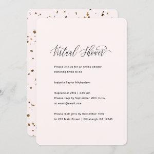 Pretty Pink with Faux Gold Virtual Bridal Shower Invitation starting at 2.60