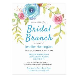 Pretty Watercolor Floral Bridal Shower Brunch Postcard starting at 1.20