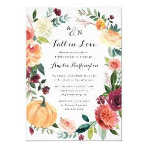 Pumpkin Fall in Love Autumn Floral Bridal Shower Invitation starting at 2.25