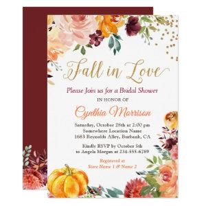 Pumpkin Fall in Love Fall Floral Bridal Shower Invitation starting at 2.40