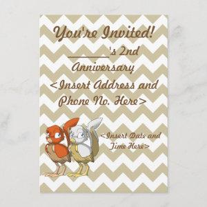 Pumpkin Pie/White and Gold Reptilian Bird Joint Invitation starting at 2.21