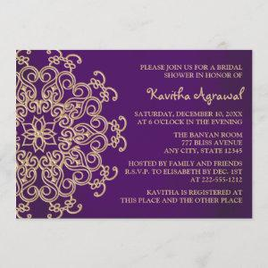Purple and Gold Indian Inspired Bridal Shower Invitation starting at 2.66
