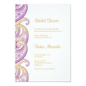 Purple and Gold Indian Paisley Bridal Shower Invitation starting at 2.45