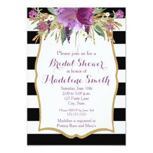 Purple and Gold Watercolor Flowers Bridal Shower Invitation starting at 2.51