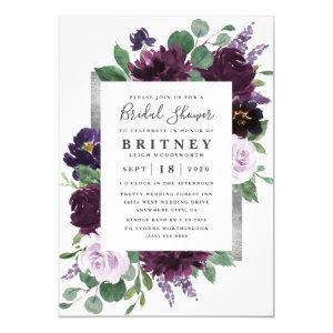 Purple and Gray Silver Watercolor Bridal Shower Invitation starting at 2.00