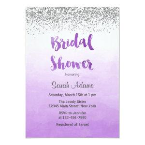 Purple and Silver Bridal Shower Invitation starting at 2.51