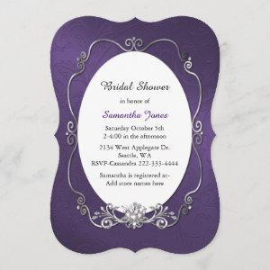 Purple and Silver Bridal Shower Invitation starting at 2.91