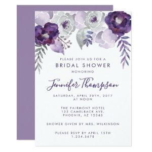 Purple and Silver Watercolor Floral Bridal Shower Invitation starting at 2.20