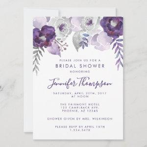 Purple and Silver Watercolor Floral Bridal Shower Save The Date starting at 2.90