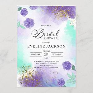 Purple and teal turquoise gold bridal shower invitation starting at 2.55