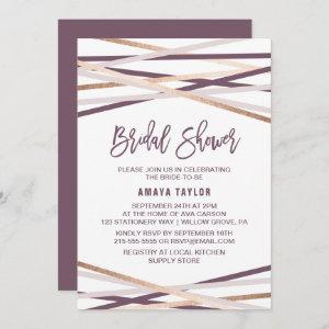 Purple Blush and Rose Gold Streamers Bridal Shower Invitation starting at 2.51